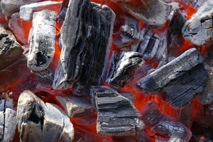 carbon coals burning